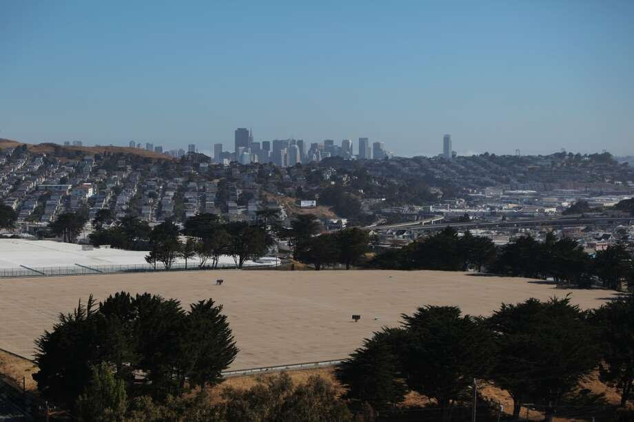South Basin reservoir and the skyline of San Francisco are seen on University Mound.