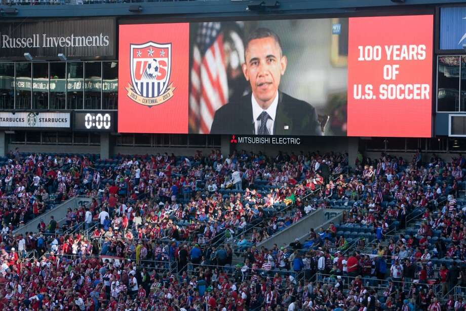 President Barack Obama shares a recorded message with USA fans  before the USA Men's National Team's World Cup Qualifier against Panama at Century Link Field in Seattle, WA on June 11, 2013.