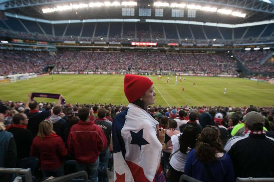 A Panama fan watches the action on the field towards the end of the USA Men's National Team's World Cup Qualifier against Panama at Century Link Field in Seattle, WA on June 11, 2013.