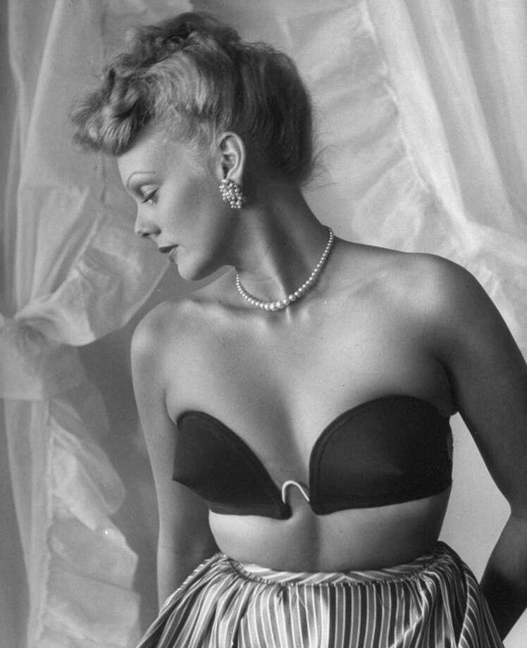 July 1946: Model wearing a strapless bra, designed by Jack Glick.