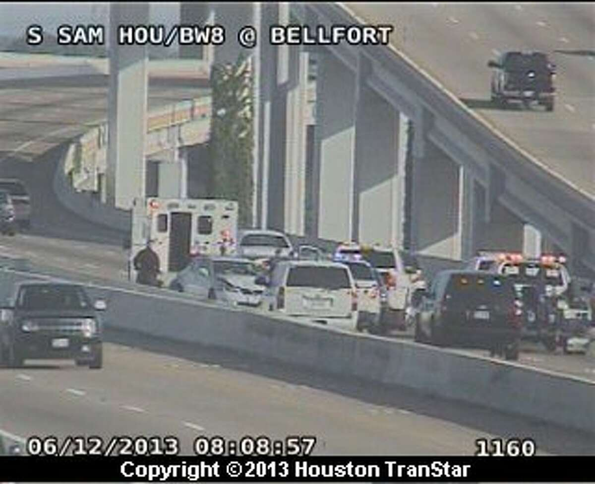 Traffic was slowed on the westbound South Sam Houston Parkway after a three-vehicle crash Wednesday morning.