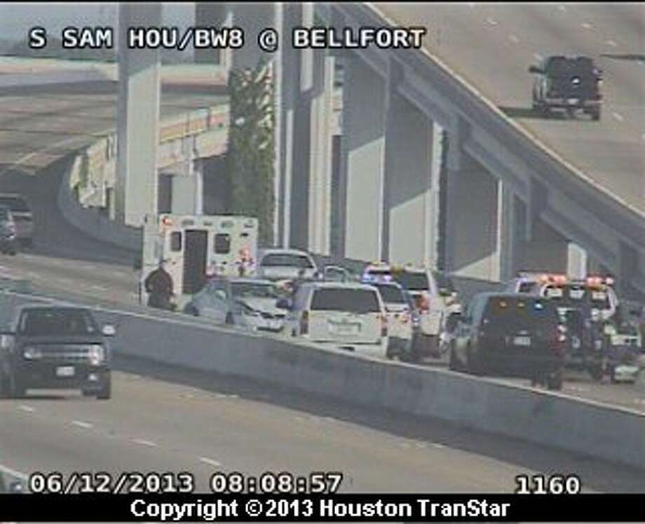 Traffic was slowed on the westbound South Sam Houston Parkway after a three-vehicle crash Wednesday morning. Photo: Houston Transtar