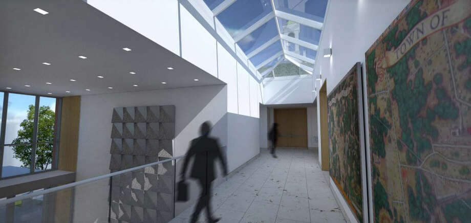 A view of the skylight and atrium of the proposed Town Hall. Image from KSQ Architects' May 6, 2013 presentation to the Town Hall Building Committee III. Photo: Contributed