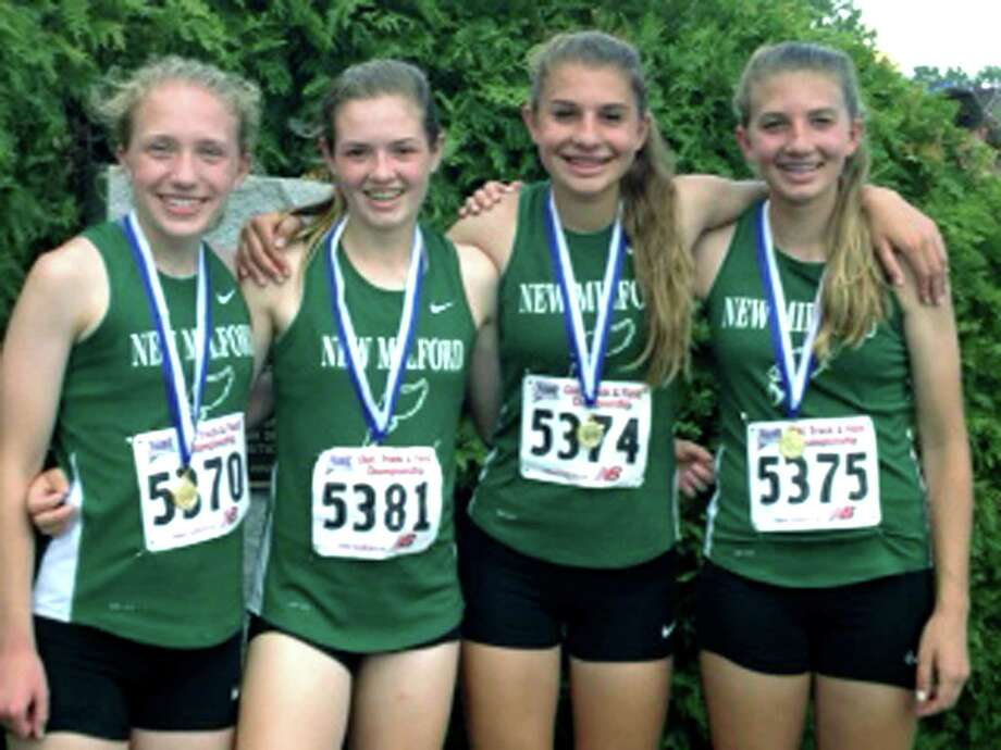 New Milford HIgh girls' track's 4 x 800-meter relay of, from left to right, Helen Bayers, Hannah Tower, Saige Grazia and Sierra Grazia, raced past its competition this season to titles at the South-West Conference, state class 'LL' and state open meets before earning third place June 8, 2013 in the New England championship meet. The Green Wave girls are scheduled to compete this week in national competition.  Courtesy of John Tower Photo: Contributed Photo