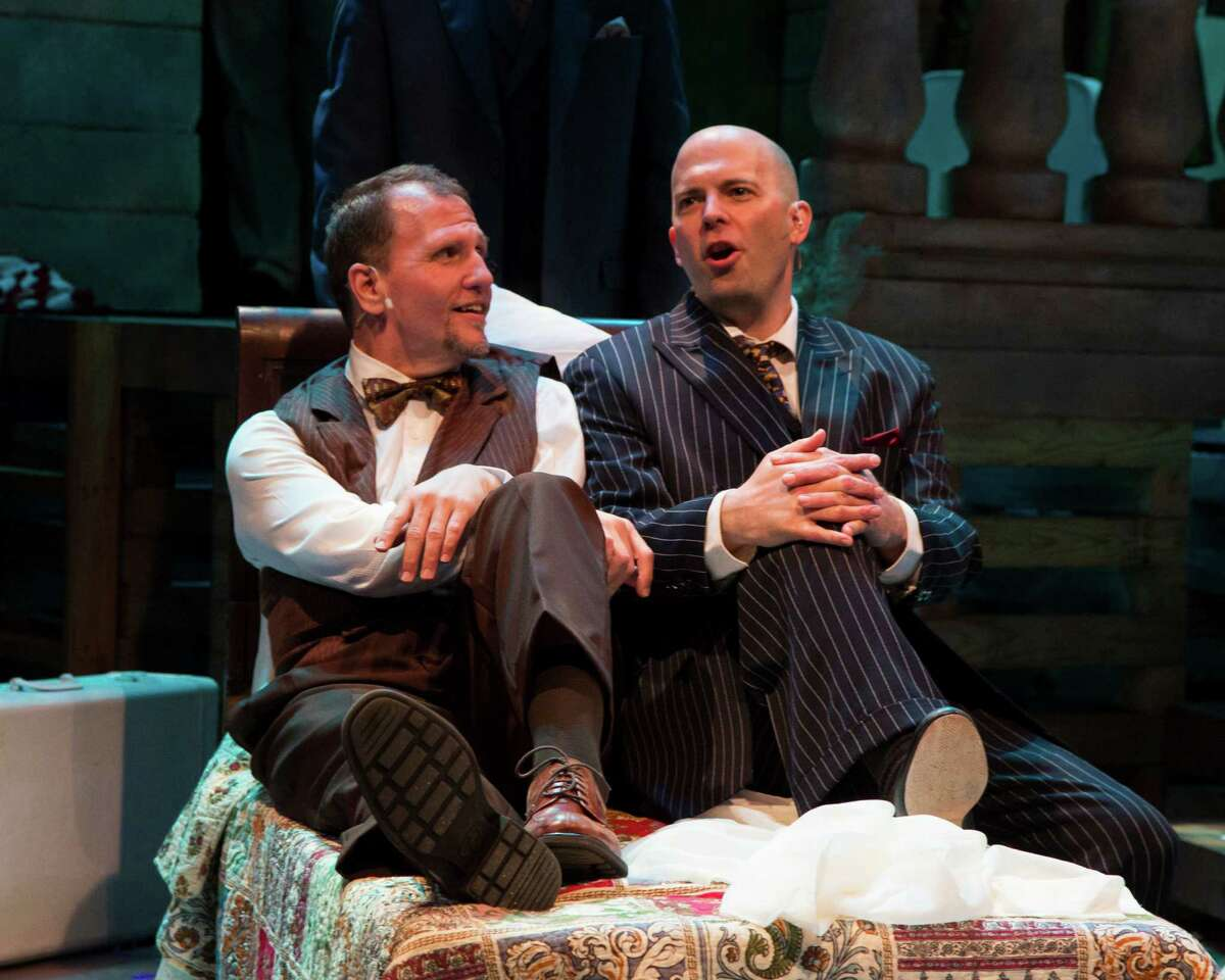 L.Jay Meyer as Addison Mizner and Tom Frey as Wilson Mizner in Road Show at Stages Repertory Theatre. Stages Repertory Theatre -