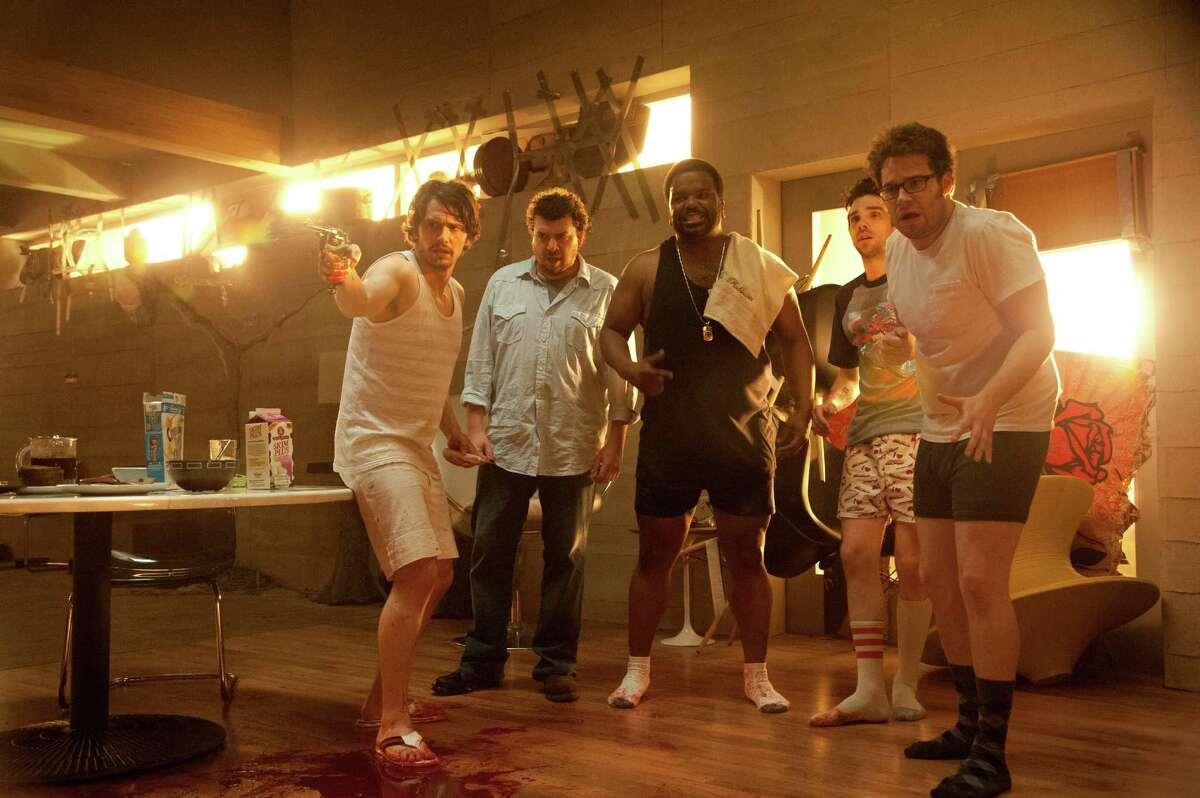 James Franco, from left, Danny McBride, Craig Robinson, Jay Baruchel and Seth Rogen star in