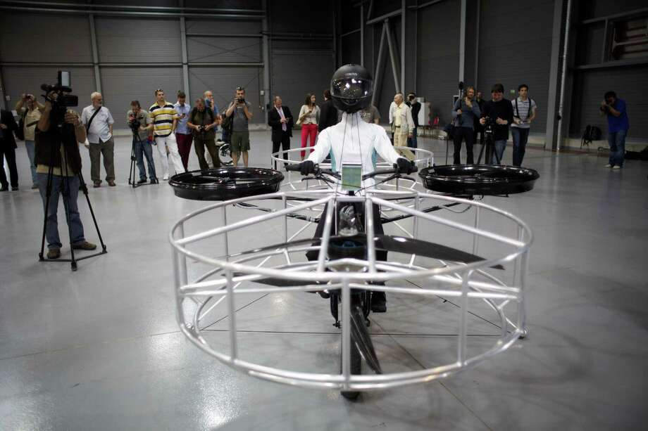 "A ""Flying bike"" bicycle is seen ahead of its first public flight on June 12, 2013 in Prague, Czech Republic. Photo: Matej Divizna, Getty Images / 2013 Matej Divizna"