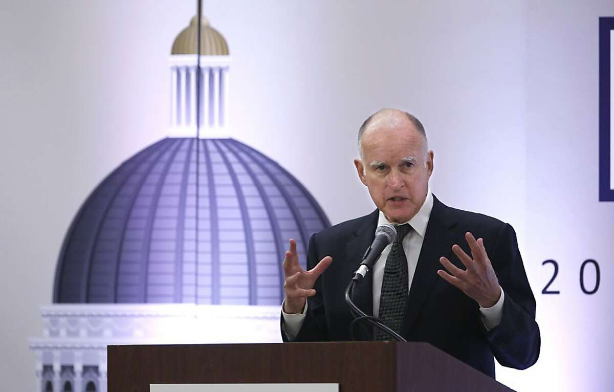 Gov. Jerry Brown told county officials that caution needs to be taken when dealing with the state budget during his appearance at the California State Association of Counties Legislative Conference in Sacramento, Calif., Wednesday, May 29, 2013. The Legislative Analyst's Office's recent reassessment of Brown's revised $96.4 billion spending plan said that California could take in $3.2 billion more in tax revenue than Brown's estimates, setting up a showdown with Democratic lawmakers who want to increase spending. (AP Photo/Rich Pedroncelli)