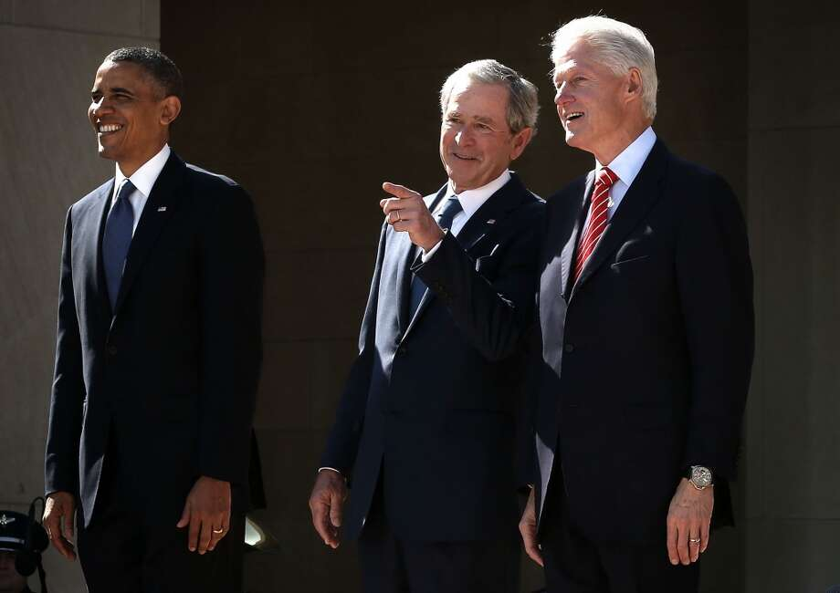 President Barack Obama, former President George W. Bush, and former President Bill Clinton attend the opening ceremony of the George W. Bush Presidential Center April 25, 2013 in Dallas, Texas. The Bush library, which is located on the campus of Southern Methodist University, with more than 70 million pages of paper records, 43,000 artifacts, 200 million emails and four million digital photographs, will be opened to the public on May 1, 2013. The library is the 13th presidential library in the National Archives and Records Administration system.  (Photo by Alex Wong/Getty Images)