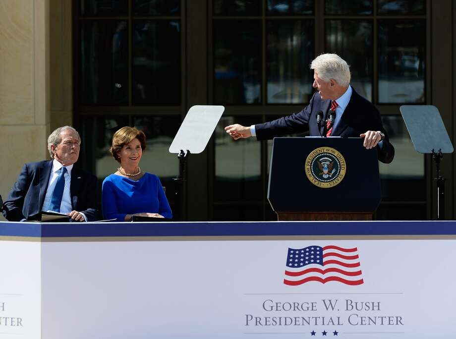Former President Bill Clinton's speaks during the opening ceremony of the George W. Bush Presidential Center April 25, 2013 in Dallas, Texas. The Bush library, which is located on the campus of Southern Methodist University, with more than 70 million pages of paper records, 43,000 artifacts, 200 million emails and four million digital photographs, will be opened to the public on May 1, 2013. The library is the 13th presidential library in the National Archives and Records Administration system.  (Photo by Kevork Djansezian/Getty Images)