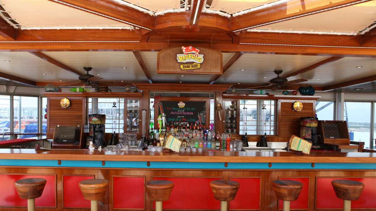 RedFrog Rum Bar, a poolside Caribbean-themed watering hole newly-installed in the Carnival Triumph (Carnival Cruise Lines)