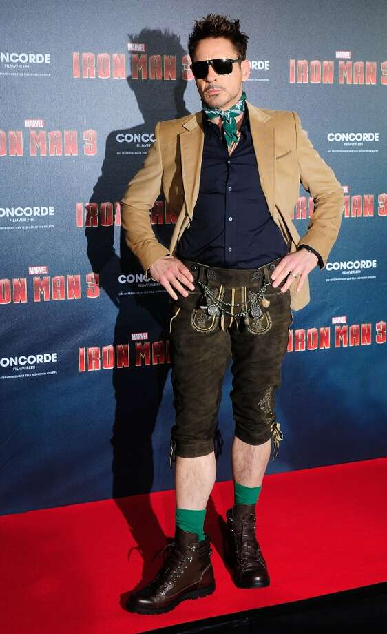 It's hard to tell whether Robert Downey, Jr. is being serious about these pants. But he's definitely flaunting them, and flaunting is serious, even if it's done jokingly. Photo: Lennart Preiss, WireImage