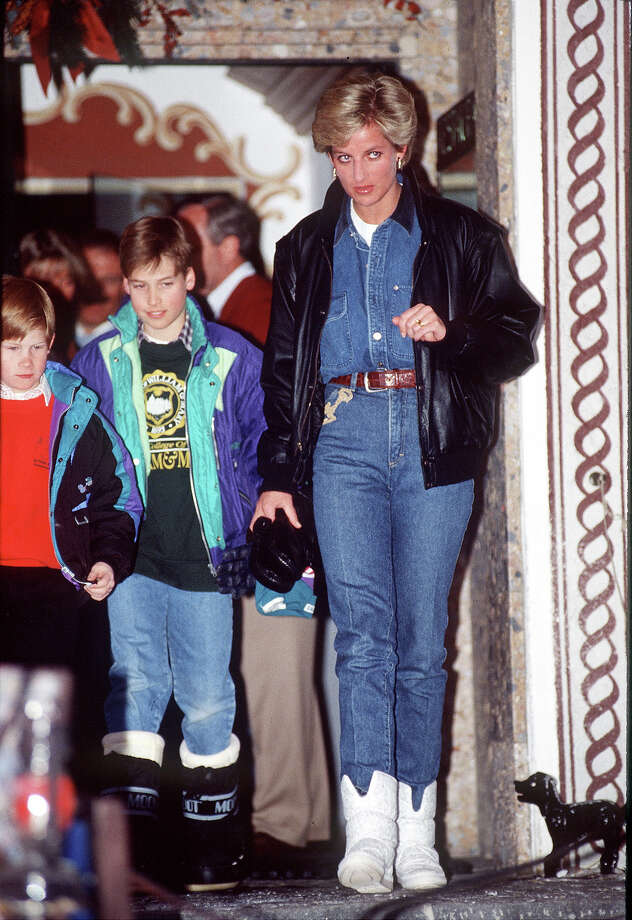 1993: The always elegant Diana Princess Of Wales displays a rare royal Canadian tuxedo, perhaps in a nod to the commonwealth. Photo: Tim Graham, Tim Graham/Getty Images / Tim Graham Photo Library