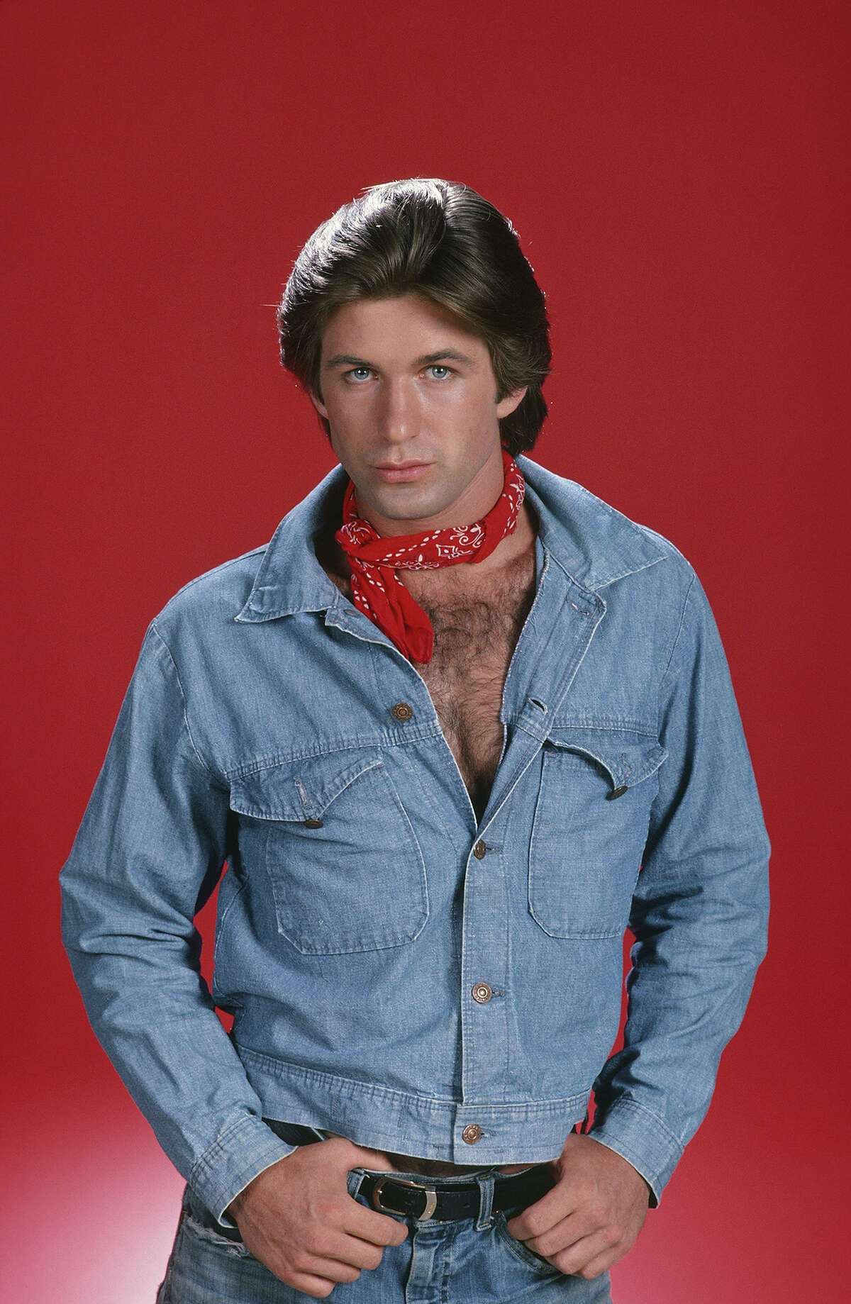 Alec Baldwin displays perhaps the most glorious example of a Canadian tuxedo the world has ever seen, complete with the optional bandana accessory,