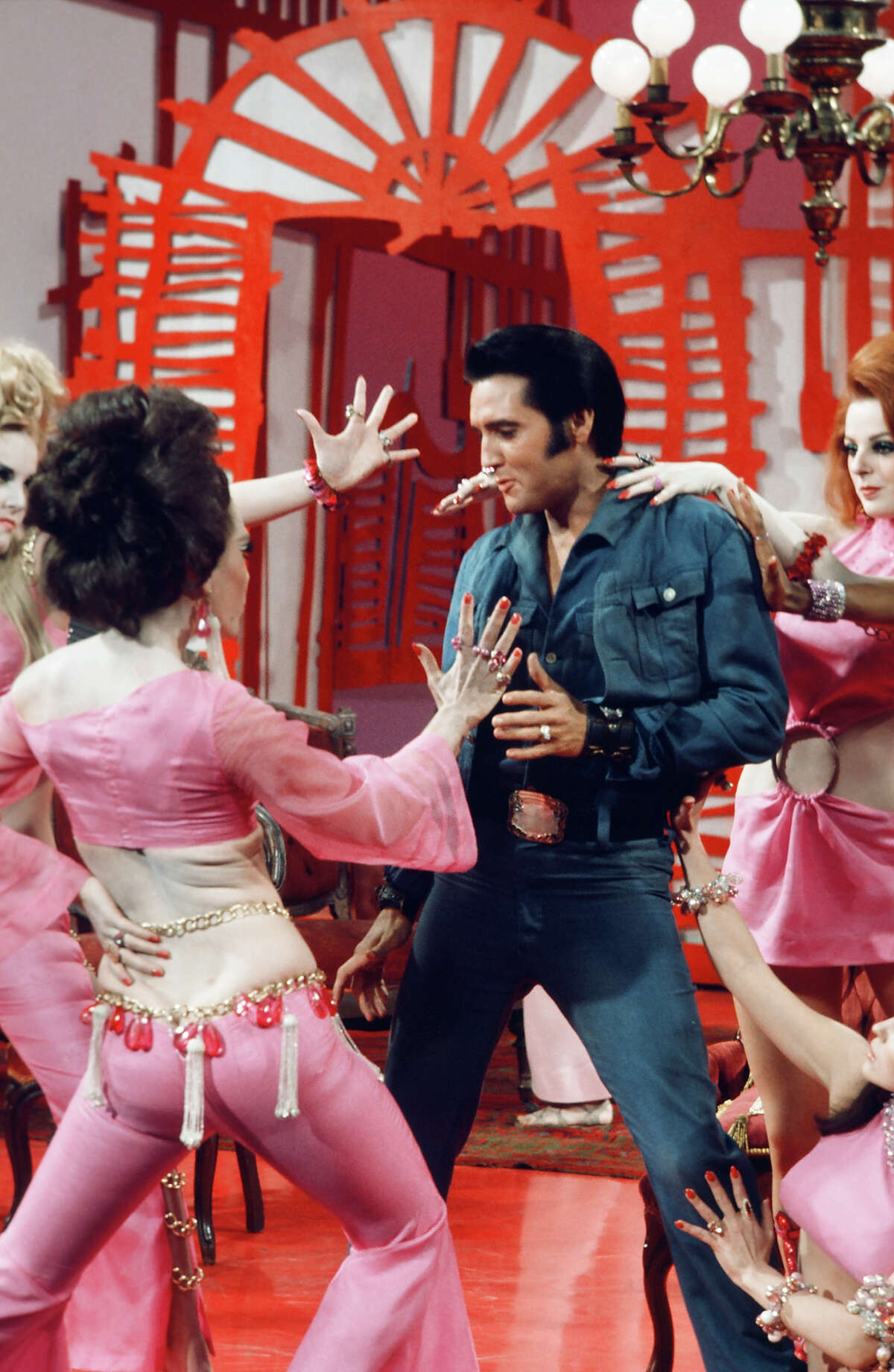 1968: The Canadian tuxedo, or wearing double denim, dates to the gold rush, however, Elvis pulled it off best.