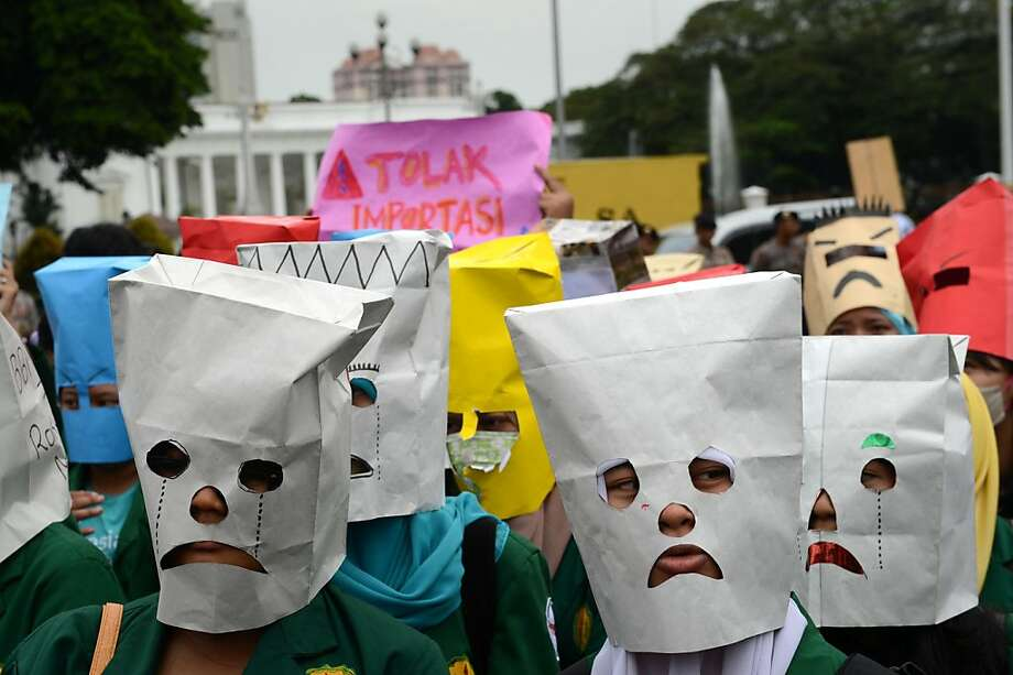 Sad sacks:Indonesian students denounce an expected rise in gas prices due to a 