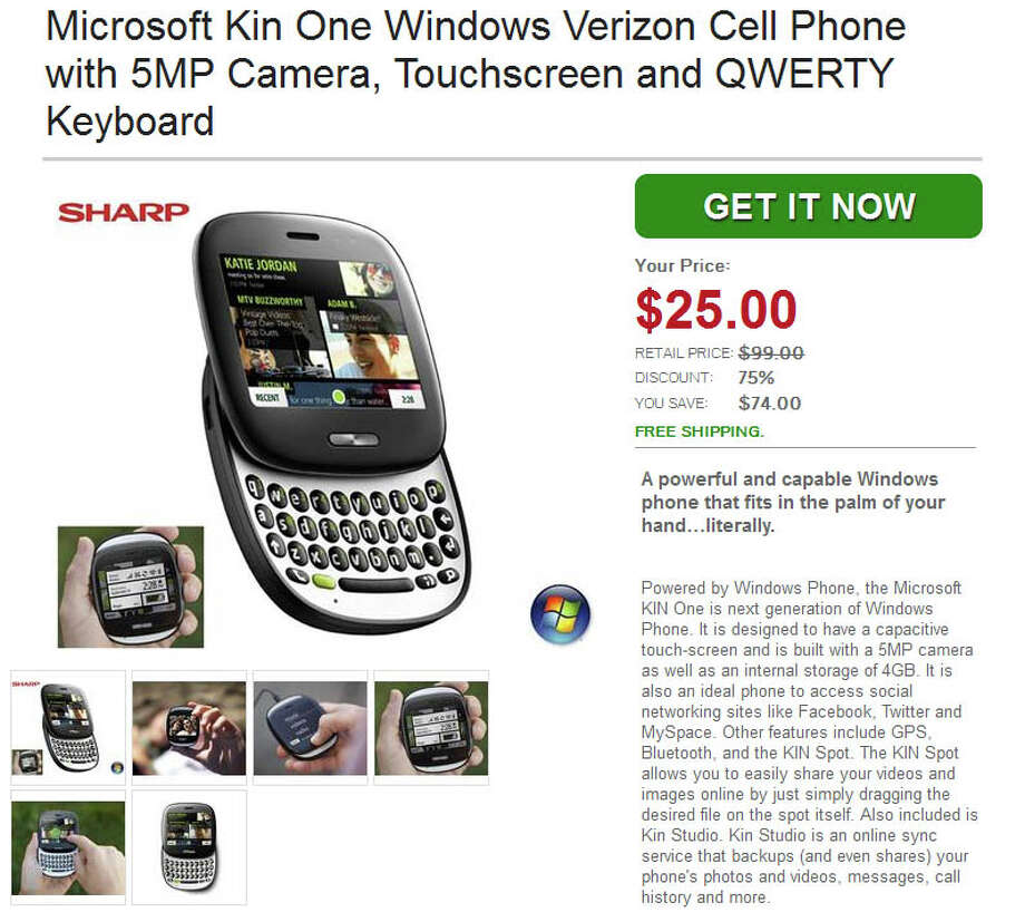 Daily Steal offer for $25 Microsoft Kin One. Photo: Daily Steal