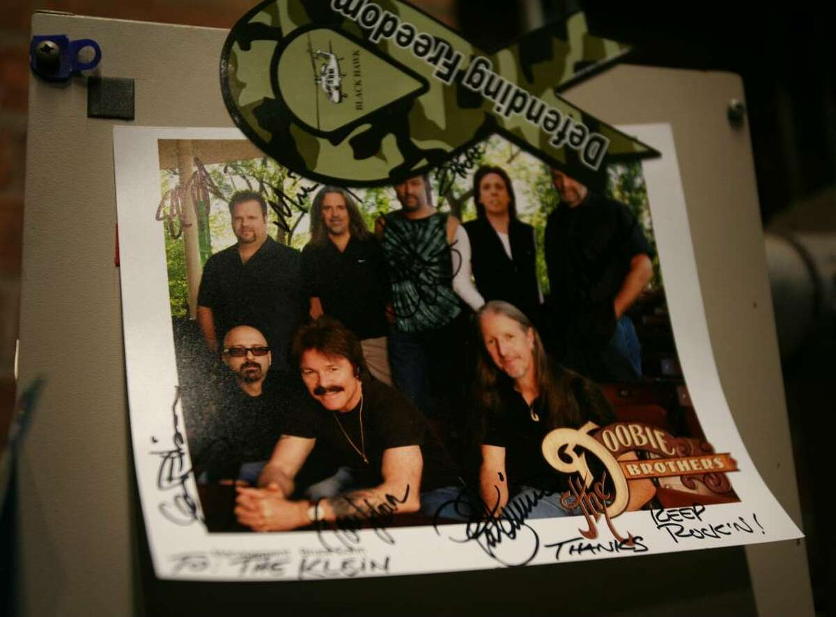 A signed photo of the rock group the Doobie Brothers, backstage at the Klein in Bridgeport.
