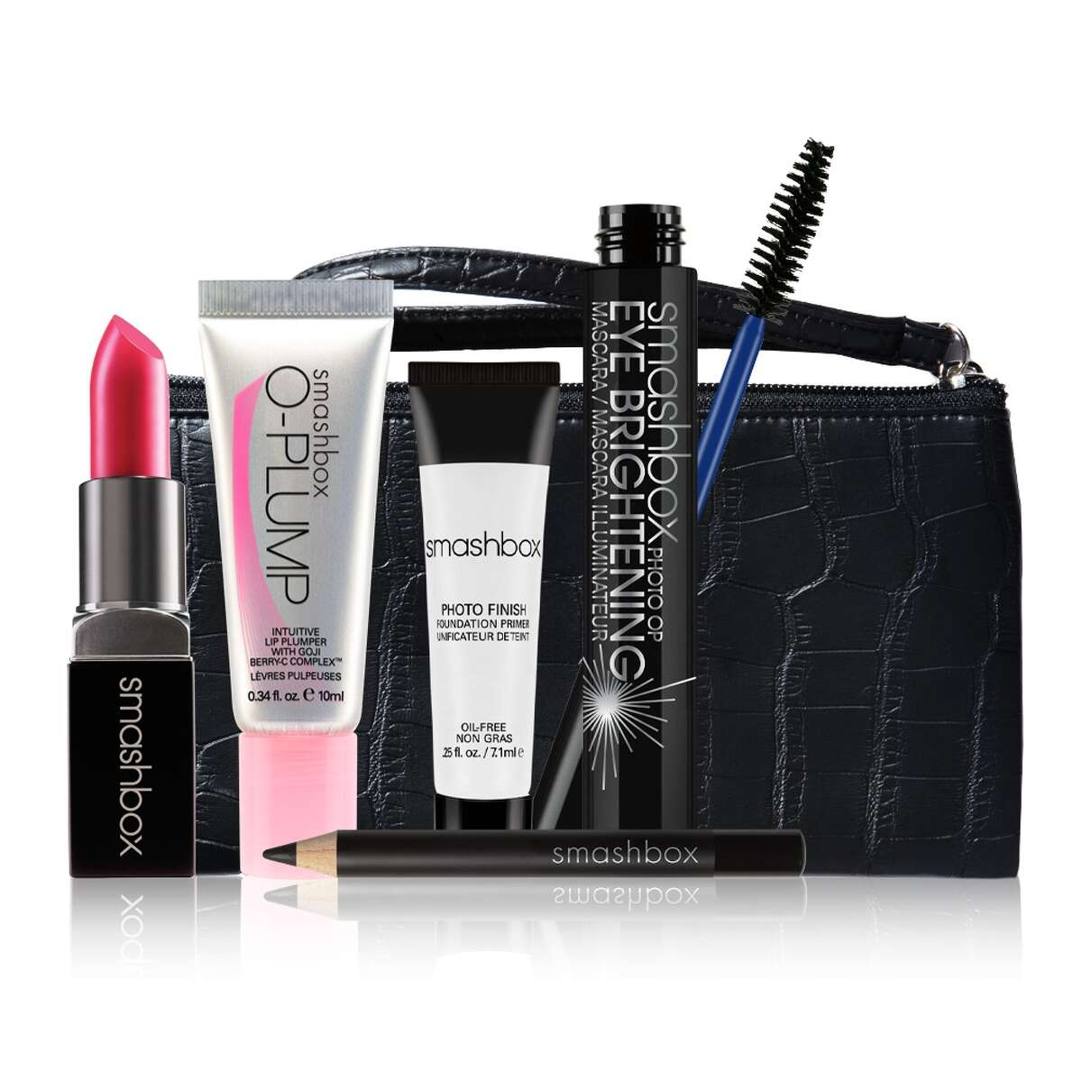 Smashbox's The Bling Ring Kit ($48 / $81 value) includes the Be Legendary Lipstick in Electric Pink, Matte. O-Plump Intuitive Lip Plumper, Photo Op Eye Brightening Mascara, Travel-Size Eye Liner Pencil in Onyx, Deluxe Sample Photo Finish Foundation Primer and Black Faux Croc Clutch. Avail only on Smashbox.com