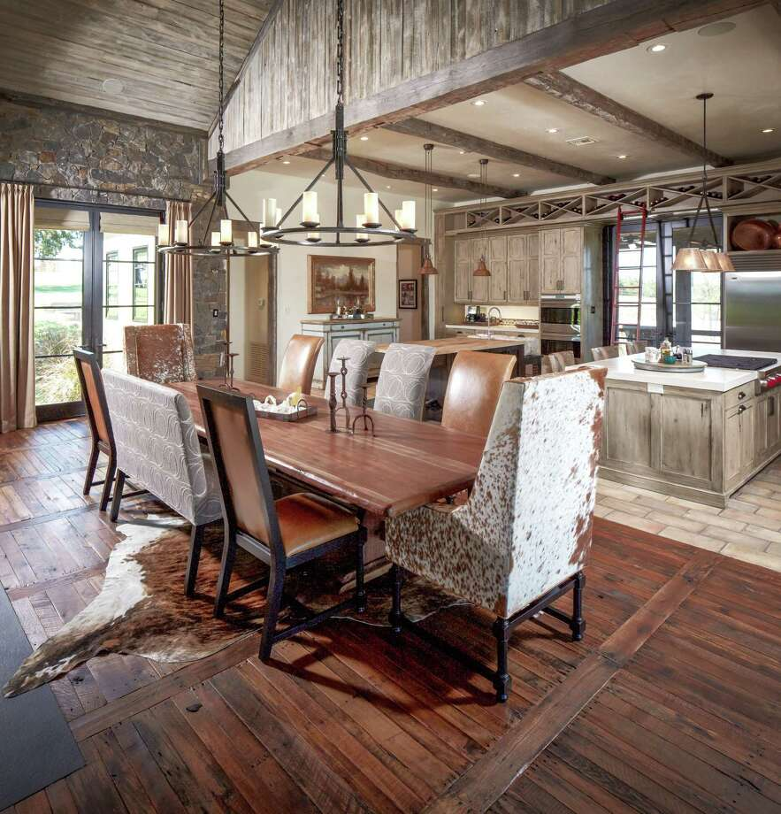 "Interior of the Whitley Ranch near Brenham, with floors of reclaimed pallets by Schenck & Company that received the ""Best Reclaimed"" Wood Floor of the Year award from the National Wood Flooring Association in April. Photo: Steve Chenn"