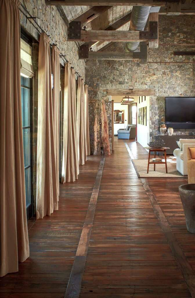 Interior of the Whitley Ranch near Brenham, with floors of reclaimed  pallets by Schenck &amp - Wild West Flavor Fills Houston Couple's Weekend Ranch - Houston
