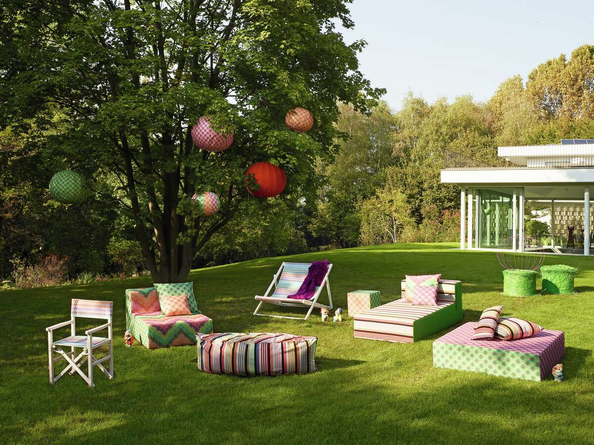 MissoniHome MacroCrochet outdoor collection, pillows from $230, poufs from $460, at Kuhl-Linscomb, 2424 West Alabama.