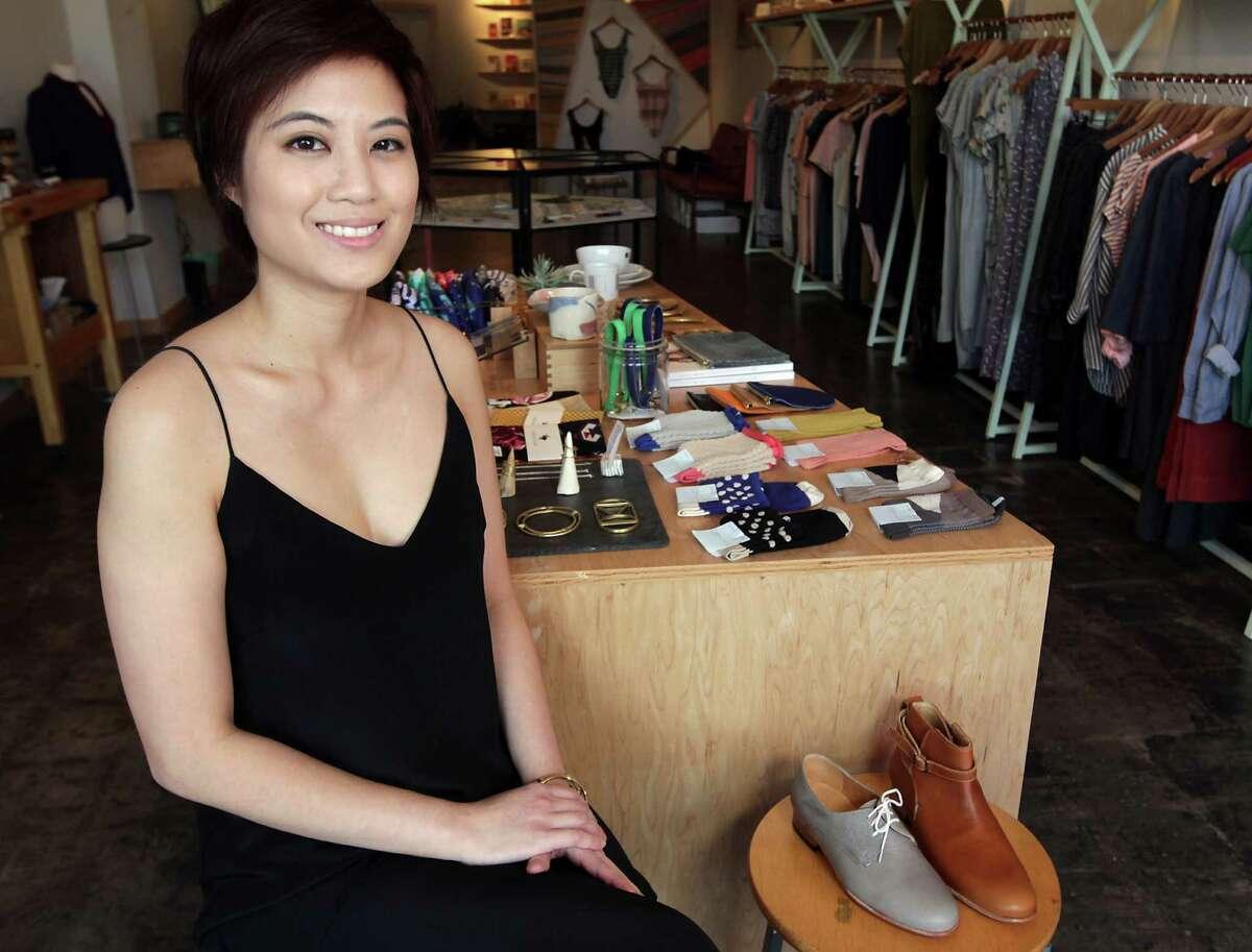 Myth & Symbol boutique co-owner Trang Nguyen in Rice Village Monday, June 10, 2013, in Houston. ( James Nielsen / Houston Chronicle )