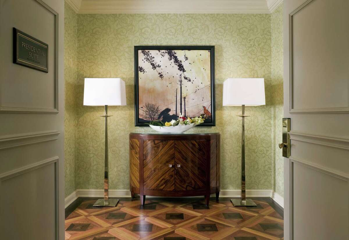 St. Regis, Houston: The Presidential Suite at the River Oaks-area hotel is the most expensive in the city. Its warmly sophisticated entry hall has parquetry wood floors.