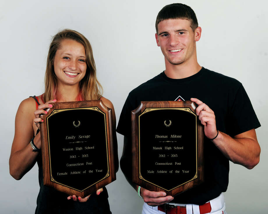 Emily Savage, Weston High School, and Thomas Milone, Masuk High School, Connecticut Post Athletes of the Year, in Bridgeport, Conn., June 12th, 2013. Photo: Ned Gerard / Connecticut Post