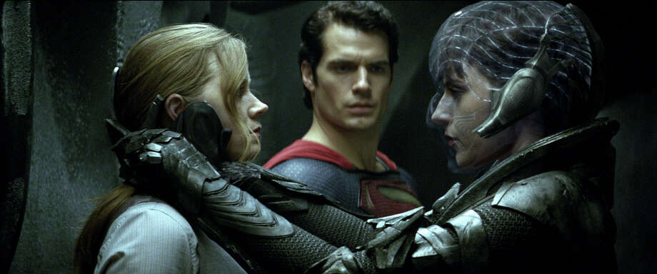 "(L-R) AMY ADAMS as Lois Lane, HENRY CAVILL as Superman and ANTJE TRAUE as Faora-Ul in Warner Bros. Pictures and Legendary Pictures action adventure ""Man of Steel"" a Warner Bros. Pictures release. / © 2013 Warner Bros. Entertainment Inc. and Legendary Pictures Funding, LLC"