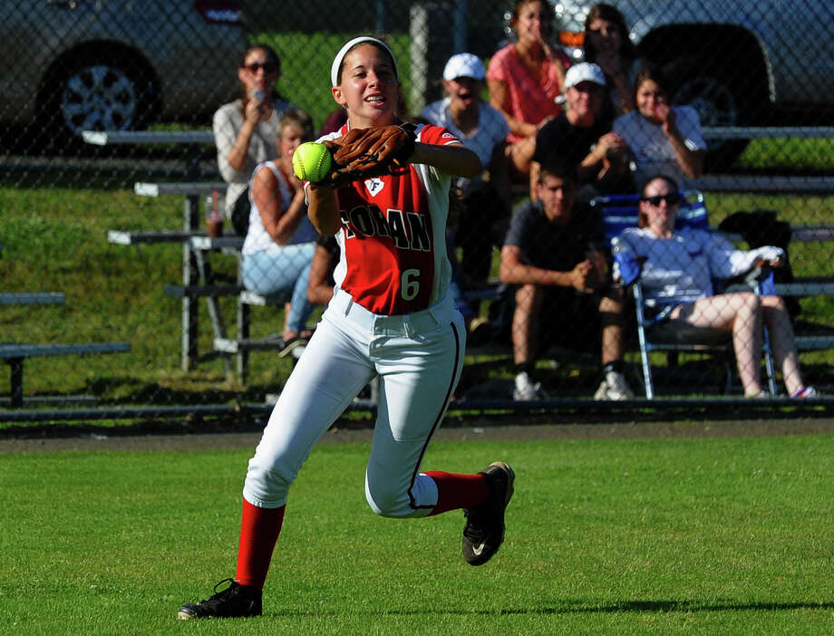 Foran's Bryanna Gonski goes after a Masuk pop fly during Class L softball finals action in West Haven, Conn. on Wednesday June 12, 2013. Photo: Christian Abraham / Connecticut Post