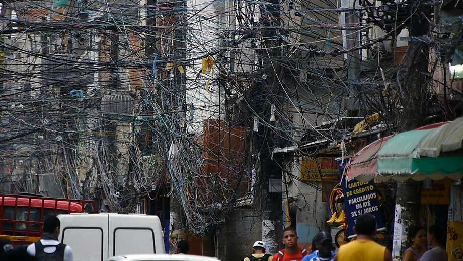 A huge snarl of electrical wires in a Brazilian slum is shown in the pro-nuclear-power documentary. Photo: Robert Stone, CNN Films