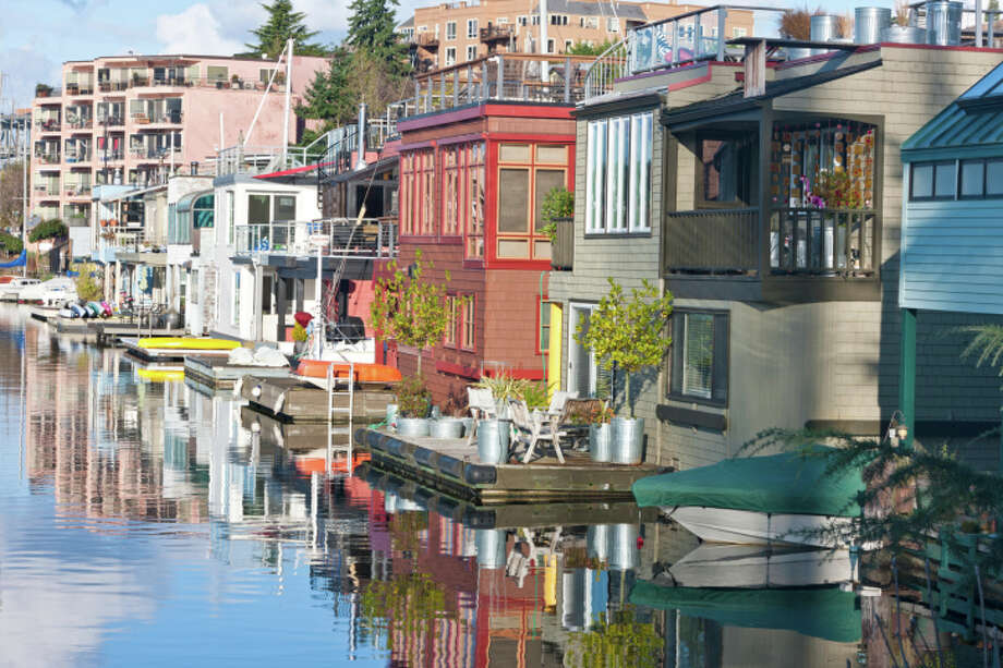 The 1930s shacks are a far cry from today's houseboats. A 1,000-square-foot houseboat in Portage Bay (not pictured) was recently listed for sale at $1.25 million. (Photo by Mark Hatfield/Getty Images).  Photo: Mark Hatfield, - / (c) Mark Hatfield
