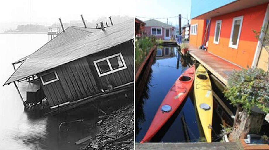 """Seattle houseboats: Then and nowHouseboats are one of Seattle's most iconic, evolving images, going from logging shacks to Depression-era slums to million-dollar homes.   In honor of MOHAI's houseboat exhibit opening Saturday, here's a look at Seattle's famous floating homes through the years. MOHAI's exhibit, """"Still Afloat: A Contemporary History of Seattle's Floating Homes,"""" includes oral histories, old photos (some included here), and a scale model of a houseboat. It runs through Nov. 3.  Photo: MOHAI/seattlepi.com, -"""