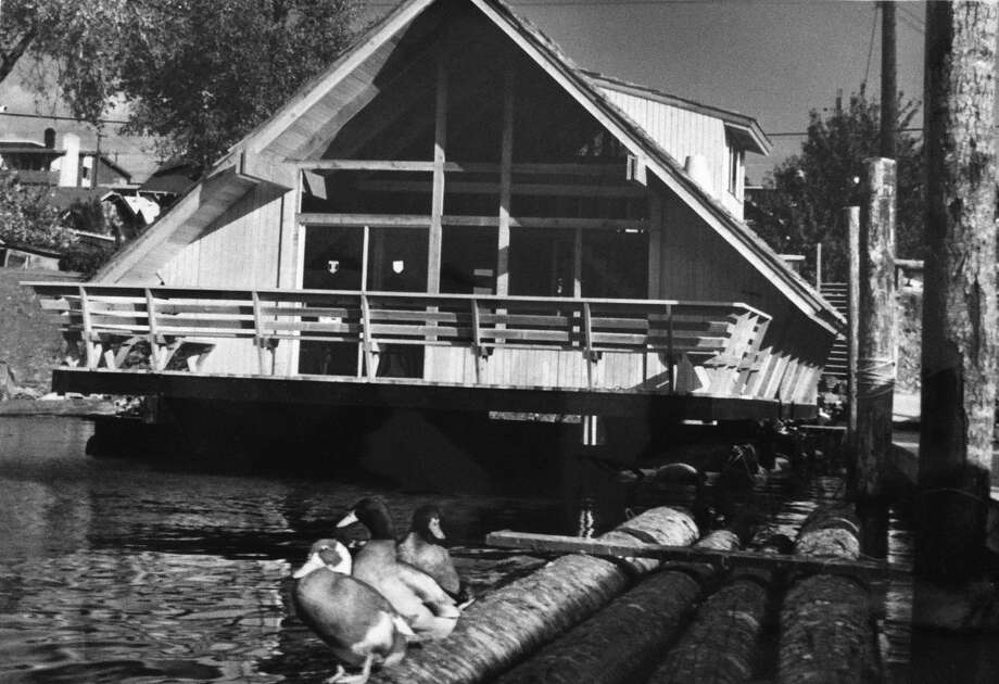 """An """"A frame"""" houseboat in 1967. (Photo: copyright MOHAI,  Seattle Post-Intelligencer collection, 2000.107.15). Photo: -"""