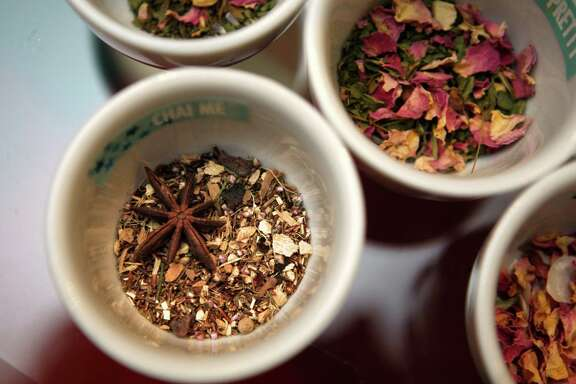 Tea blends from master blender Christopher Coccagna at T-We in San Francisco's Crocker Galleria.