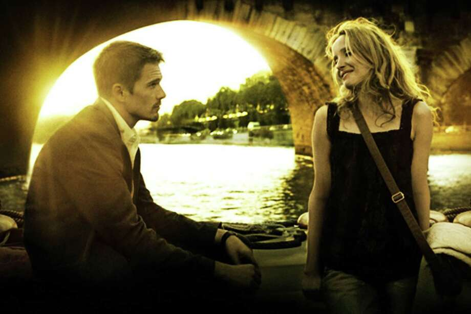 "Ethan Hawke and Julie Delpy star in ""Before Sunset,"" the first sequel to ""Before Sunrise."""