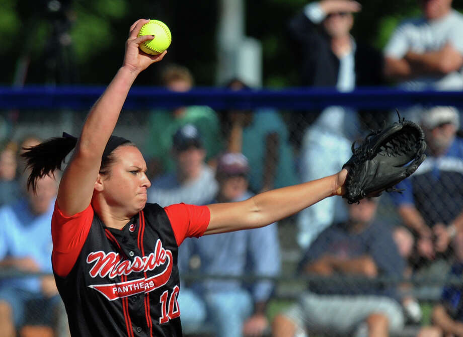 Masuk pitcher Tatum Buckley, during Class L softball finals action against Foran in West Haven, Conn. on Wednesday June 12, 2013. Photo: Christian Abraham / Connecticut Post