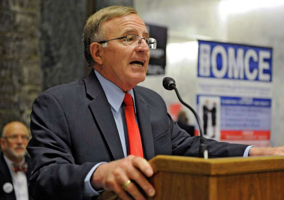 Senator John DeFrancisco speaks during a demonstration by the Organization of NYS Management Confidential Employees (OMCE) at the Legislative Office Building on Wednesday, June 12, 2013 in Albany, N.Y. The non-unionized state employees have gone years without a raise. (Lori Van Buren / Times Union)