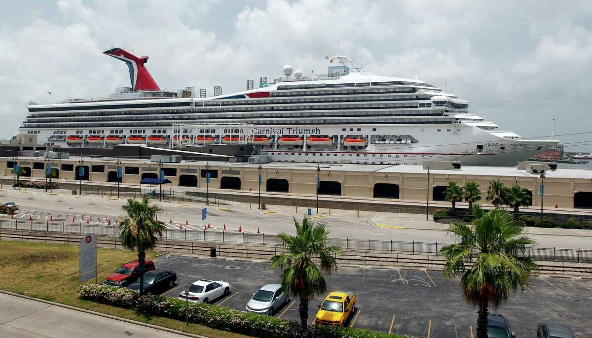 The Carnival Cruise Lines vessel Triumph returned to the Port of Galveston Tuesday for the first times since an engine fire in February.