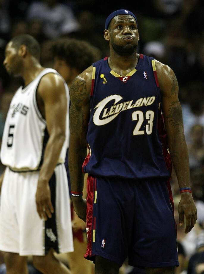 Cavaliers forward LeBron James (23) and his team struggle against the Spurs during first half action in the NBA Finals Game 2 in San Antonio on June 10, 2007.