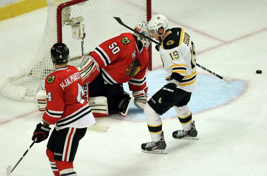 CHICAGO, IL - JUNE 12:  Tyler Seguin #19 of the Boston Bruins celebrates after Patrice Bergeron #37 (not pictured) scored a goal in the third period against goalie Corey Crawford #50 of the Chicago Blackhawks in Game One of the 2013 NHL Stanley Cup Final at United Center on June 12, 2013 in Chicago, Illinois. Photo: Jonathan Daniel, Getty Images / 2013 Getty Images