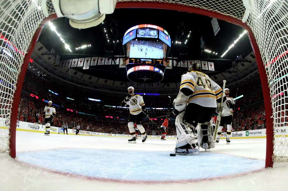 CHICAGO, IL - JUNE 12:  Goalie Tuukka Rask #40 of the Boston Bruins reacts after he gave up a goal in the second period to Brandon Saad #20 of the Chicago Blackhawks in Game One of the 2013 NHL Stanley Cup Final at United Center on June 12, 2013 in Chicago, Illinois. Photo: Bruce Bennett, Getty Images / 2013 Getty Images