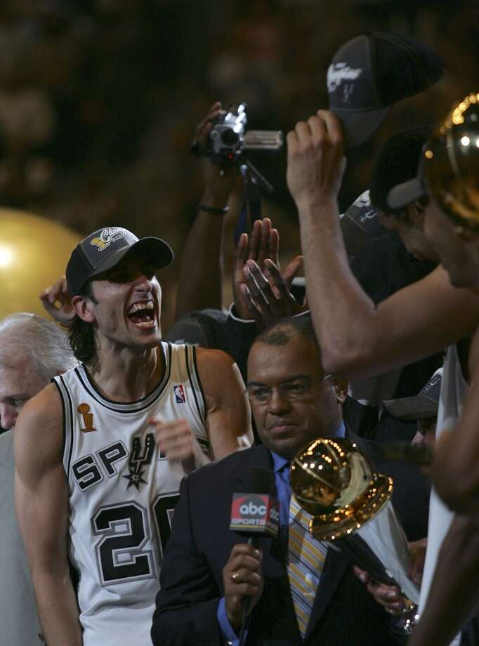 Manu Ginobili during the trophy presentation at the end of Game 7 of the NBA Finals at the SBC Center on June 23, 2005.