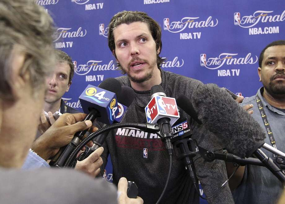 Miami's Mike Miller takes questions during practice and media sessions at the AT&T Center on Wednesday, June 12, 2013.