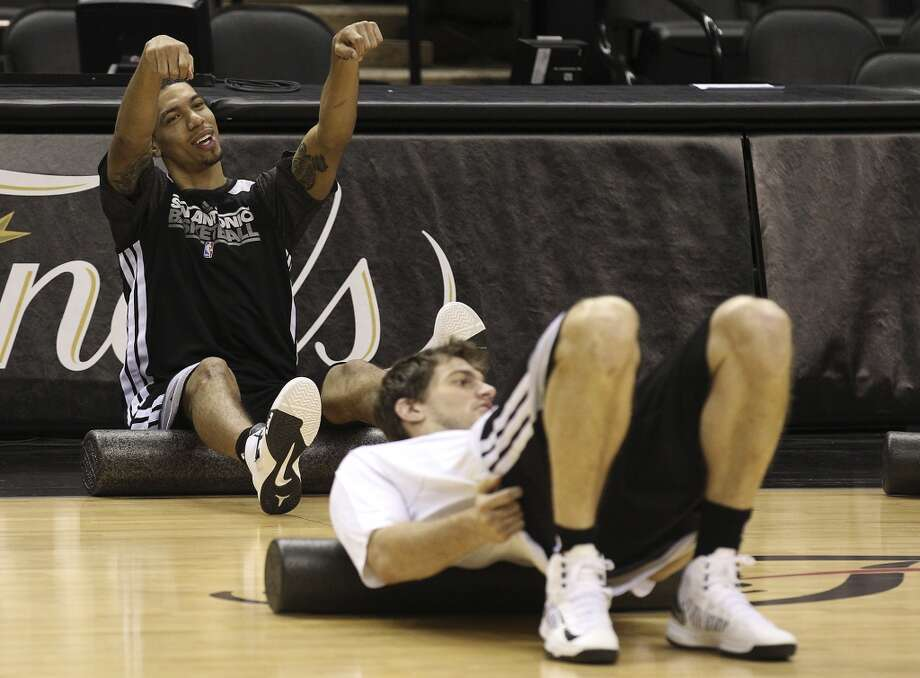 Danny Green and Tiago Splitter warmup during practice and media sessions at the AT&T Center on Wednesday, June 12, 2013.