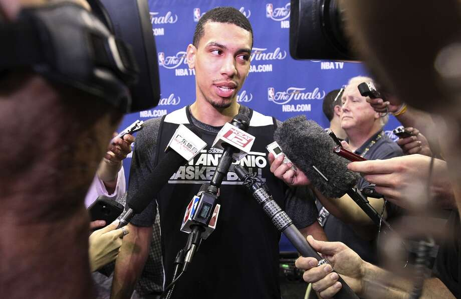 Danny Green takes questions from media during practice and media sessions at the AT&T Center on Wednesday, June 12, 2013.