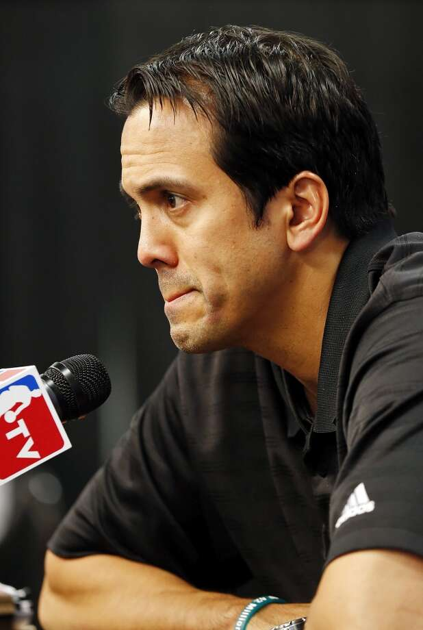 Miami Heat head coach Erik Spoelstra answers questions from the media during practice Wednesday June 12, 2013 at the AT&T Center.