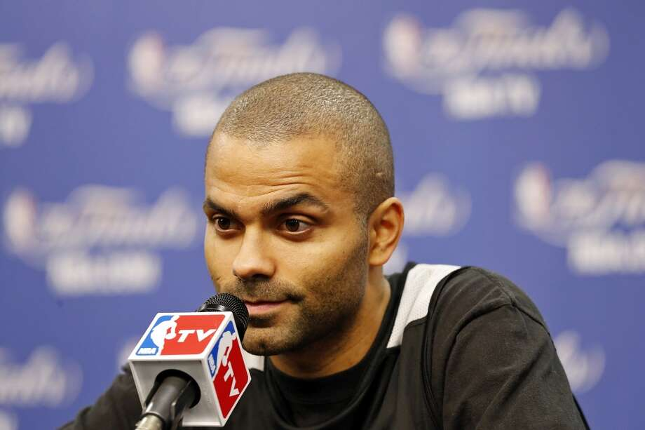 San Antonio Spurs' Tony Parker answers questions from the media during practice Wednesday June 12, 2013 at the AT&T Center.
