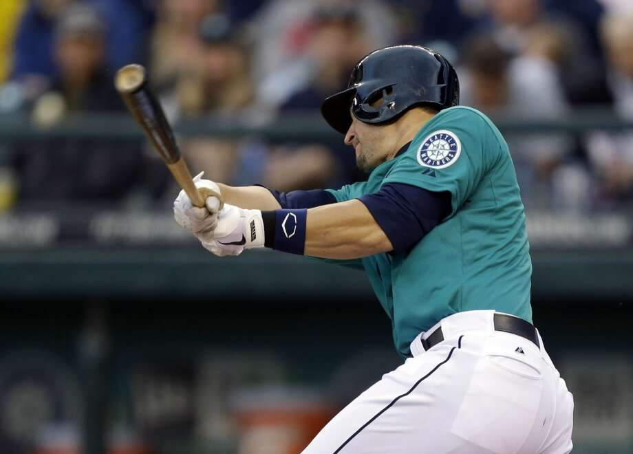 Mike Zunino gets his first major league hit. Photo: Ted S. Warren, Associated Press